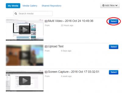 blackboard select video