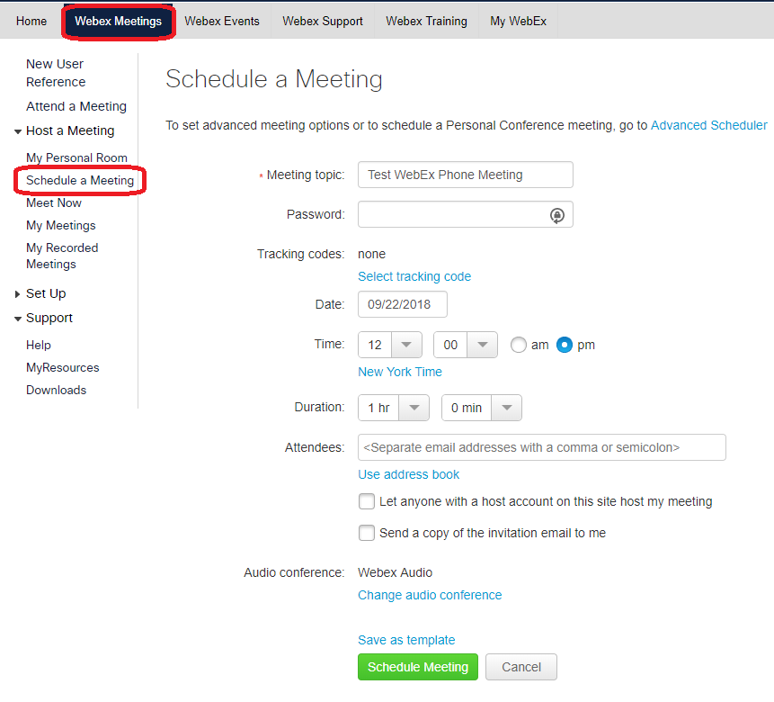 Schedule WebEx Meeting