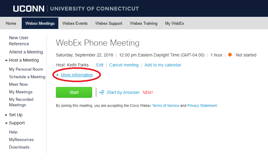 scheduled webex meeting less info