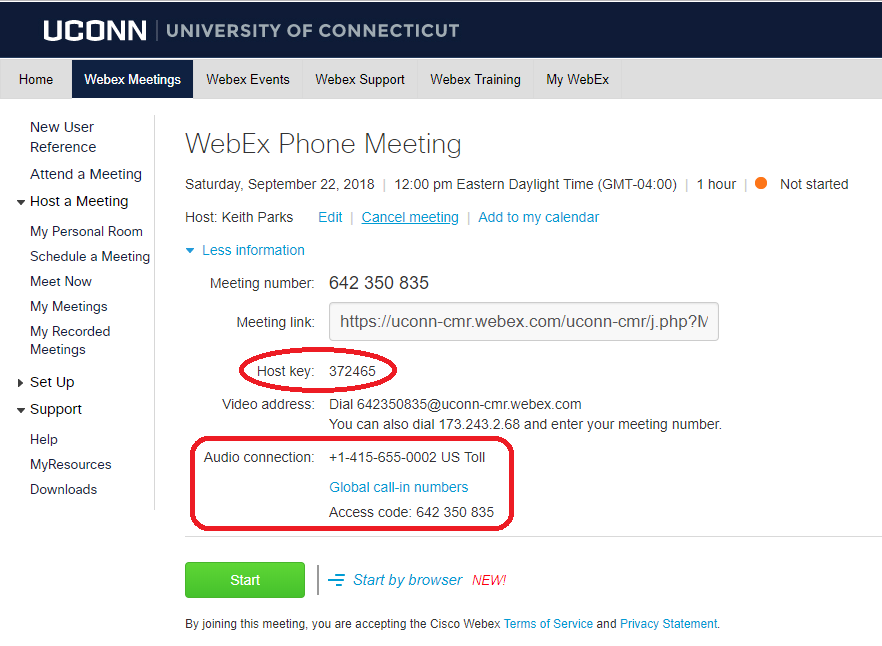 Scheduled webex meeting more information