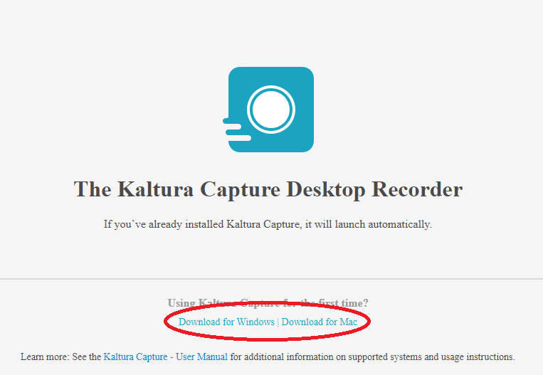 Download page for Kaltura Capture