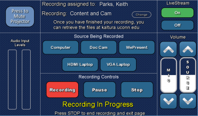 kaltura recording/streaming overview page